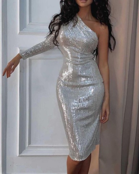 One Shoulder Long Sleeve Party Sequin Dress