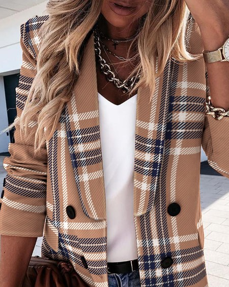 Plaid Print Long Sleeve Double Breasted Blazer Coat Elegant Work Blazer