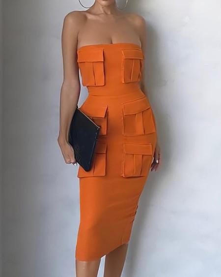 Off Shoulder Pocket Design Plain Work Dress