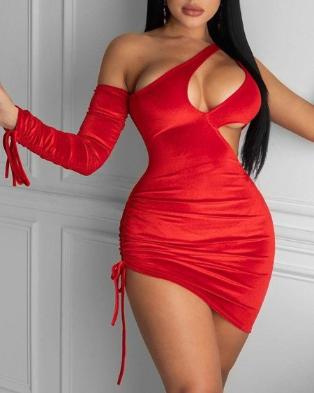 Solid One Shoulder Cut-Out Drawstring Ruched Velvet Bodycon Dress