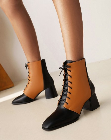 Ladies Square Toe Wax Finish Colorblock Lace-up Booties