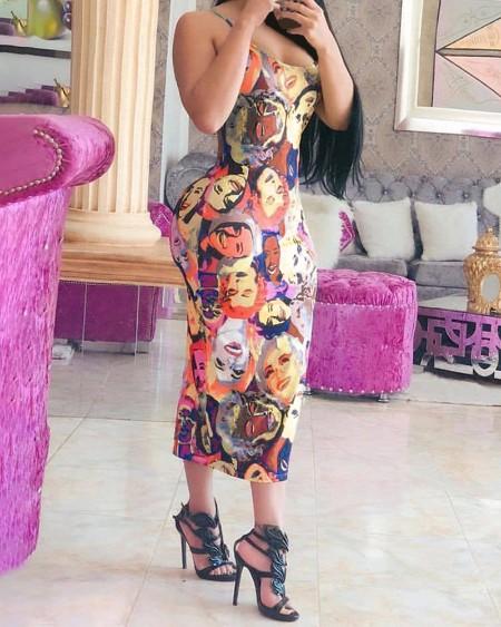 Figure Print Colorblock Backless Maxi Dress