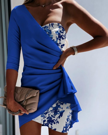 One Shoulder Colorblock  Ruched Bodycon Dress Elegant Party Dress