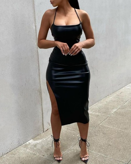 PU Leather Cisscross Backless High Slit Party Dress