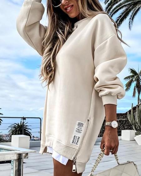 Long Sleeve Zipper Design Sweatshirt Dress