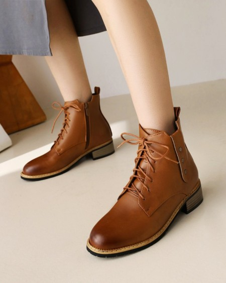 Chic Womens Round Toe Lace-up Motorcycle Boots