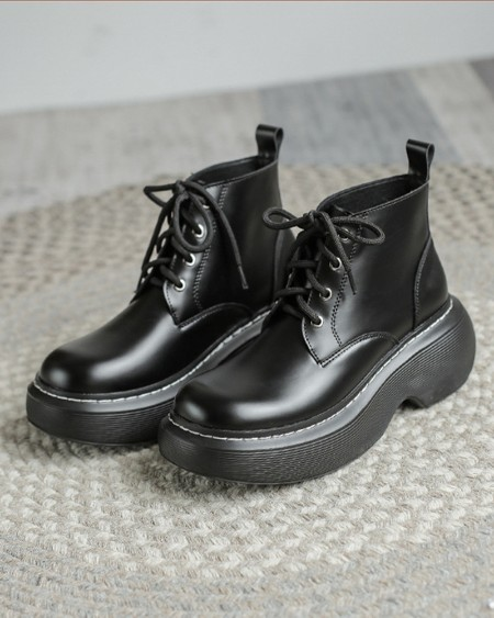 Womens Patchwork Round Toe Lace-Up Platform Boots