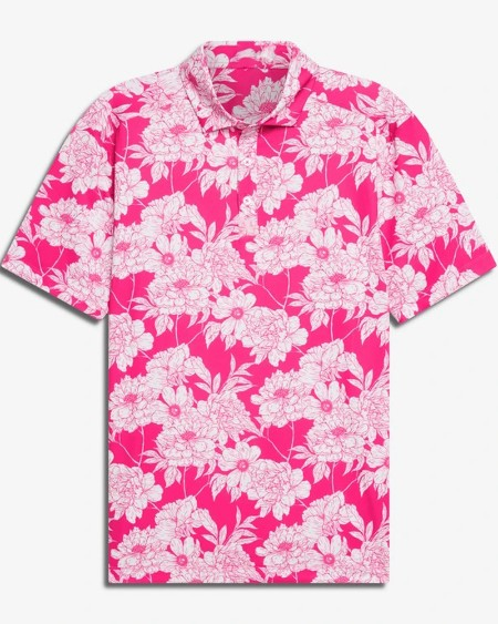 Mens All Over Floral Printed Short Sleeve Button Up Polo Shirt