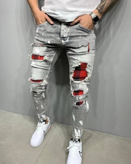 Color Block Patchwork Ripped Skinny Jeans
