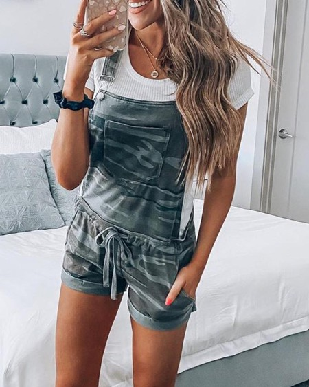 Camouflage Print Overall Romper