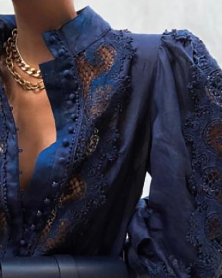 Guipure Lace Puff Lantern Sleeve Shirt