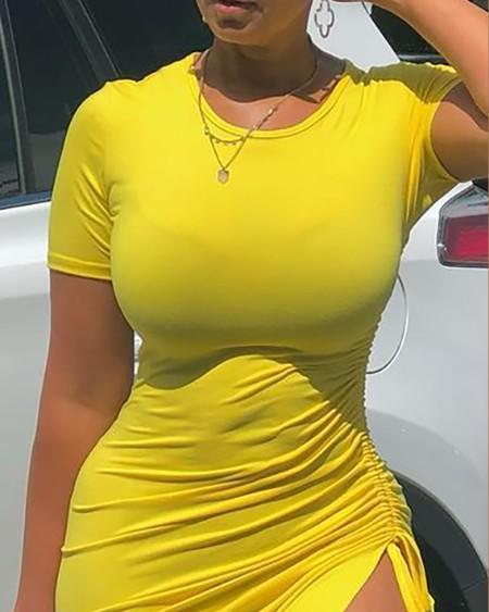 Short Sleeve Drawstring Ruched Skinny Dress
