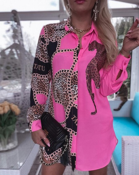 Cheetah Chain Print Colorblock Longline Shirt