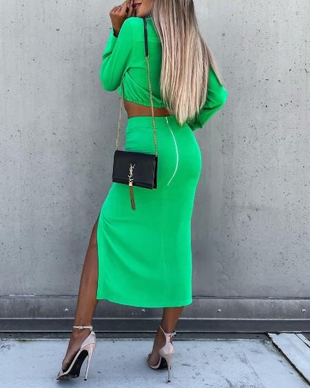 Long Sleeve Ruched Crop Top & Slit Skirt Set