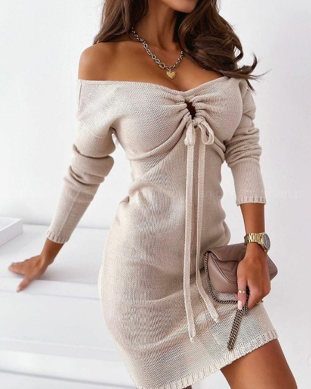 Drawstring Front V-Neck Sweater Dress Plain Rib-knit Long Sleeve Casual Dress