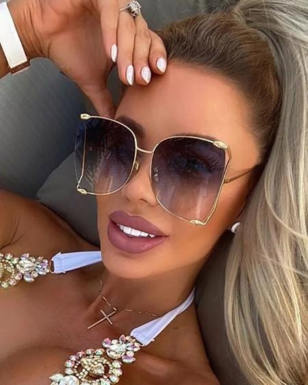 1Pair Pearls Half Round Big Frame Gradient Sunglasses