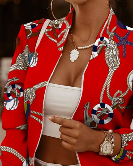 All Over Print Long Sleeve Zip Up Jacket