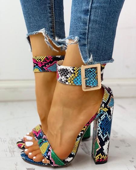 Snakeskin / Cheetah / Floral Print Ankle Buckled Chunky Heels