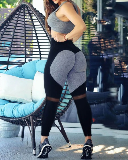 High Waist Colorblock Butt Lifting Yoga Pants