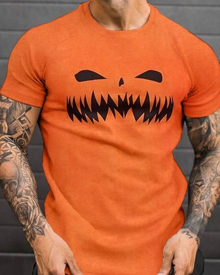 Fashion Mens Halloween Pumpkin Emoj Printed Short Sleeve T-Shirt