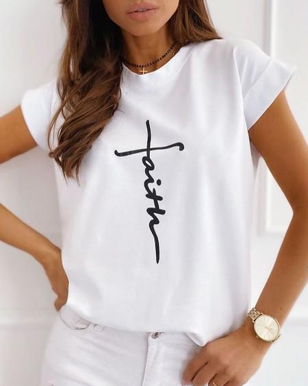 Letter Print Short Sleeve Casual T-shirt