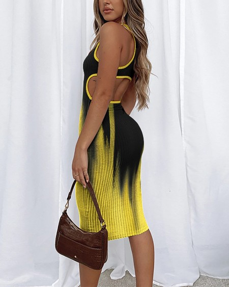Gradient Print Hollow-out Backless Buttock Wrapped Sleeveless Midi Dress