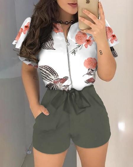 Printed Zipped Blouse & Plain Shorts 2-piece Set