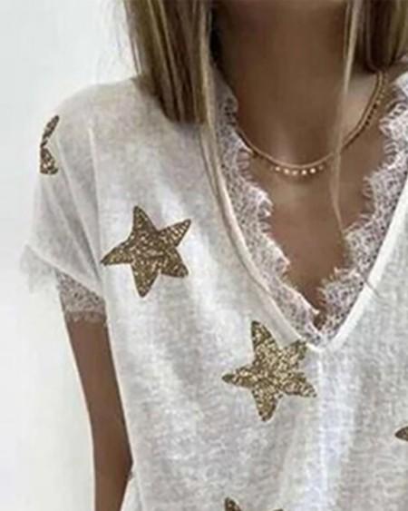 Star Print Eyelash Lace Trim Top