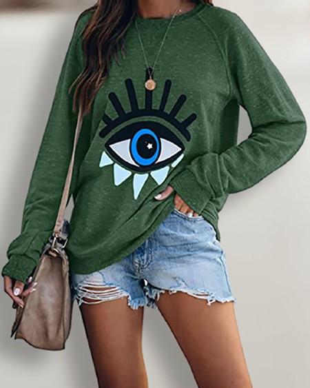 Halloween Long Sleeve One Eye Print O Neck Sweatshirt