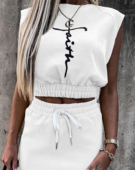 Letter Print Sleeveless Top & Drawstring Skirt Set