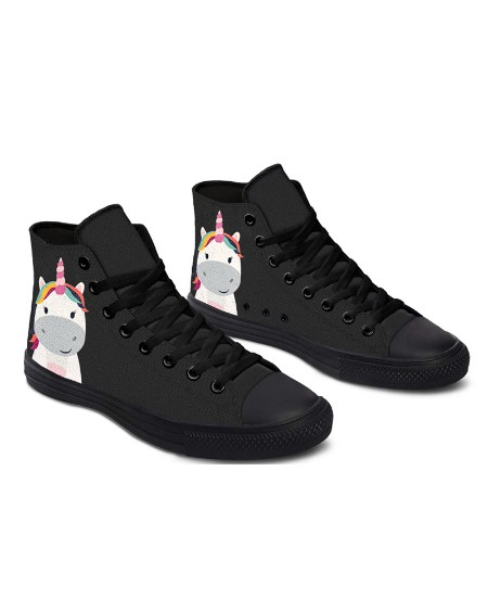 Womens Super Cute Hippo Unicorn Print Lace-up High Top Canvas Casual Shoes