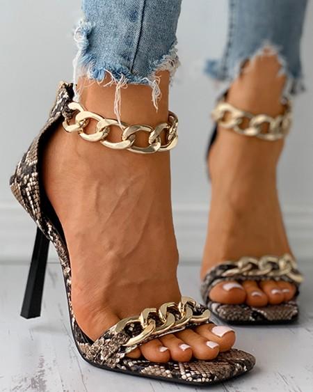 Plain / Snakeskin Print Chain Decor Stiletto Heels