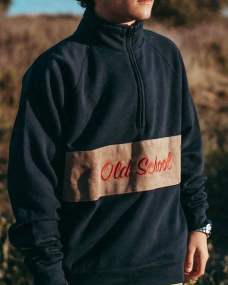 Color Block Splicing Letter Embroidery Zipper Sweatshirt
