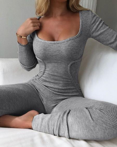 Plain Long Sleeve Ribbed Jumpsuit