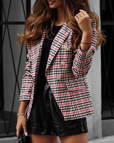 Houndstooth Print Colorblock Double Breasted Blazer Coat