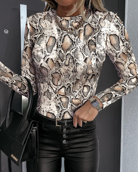 Snakeskin Print Long Sleeve Skinny Top