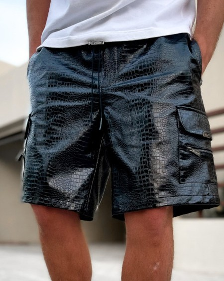 Solid Color Snakeskin Print PU Leather Cargo Short Pants
