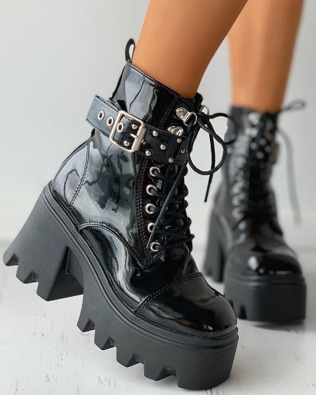 Buckled Eyelet Lace-up Combat Boots