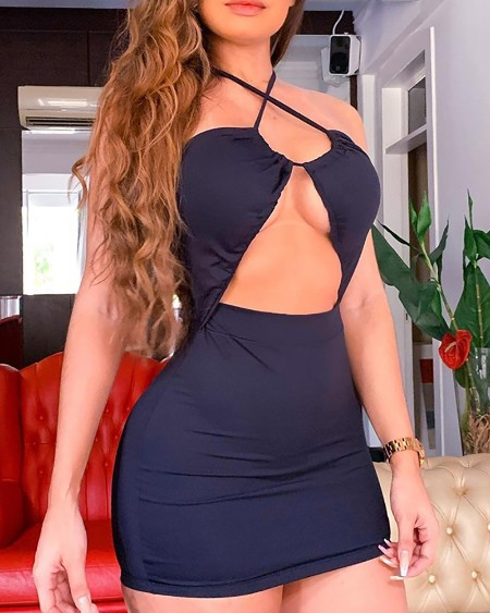 Halter Cutout Front Backless Bodycon Dress