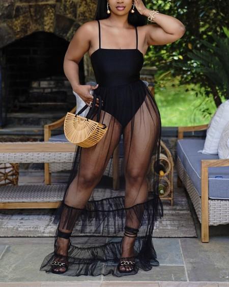 Solid Color Splicing Mesh Sling Bodysuit With Mesh Skirt Suit Sets