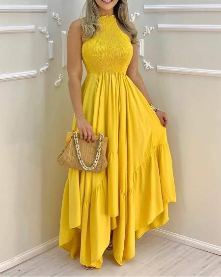 Plain Sleeveless Ruched Maxi Dress