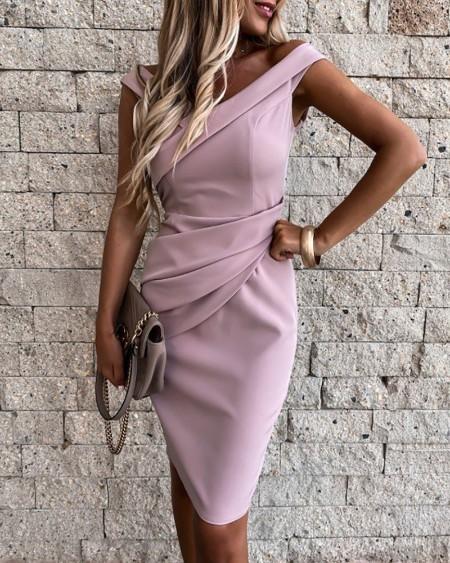 Plain Ruched Sleeveless Work Dress