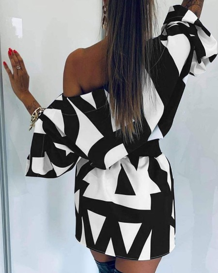 One Shoulder Bell Sleeve Abstract Print Dress