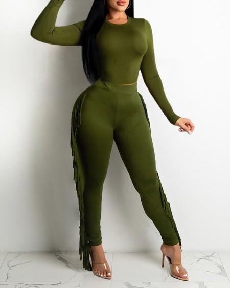 Long Sleeve Crop Top & Fringe Trim Pants Set