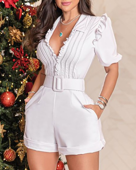 Frill Hem Pocket Design Short Sleeve Romper