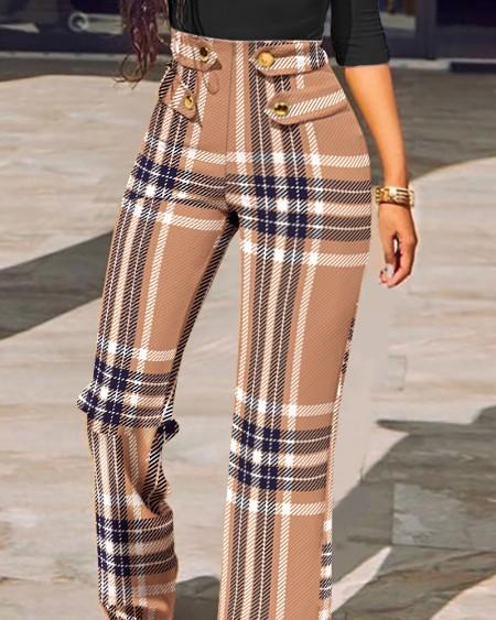 Plaid Print Buttoned High Waist Straight Leg Tailored Pants