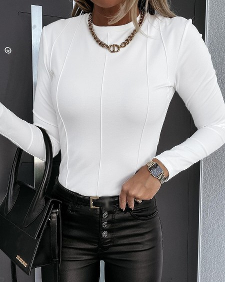 Contrast Stitch Long Sleeve Skinny Top