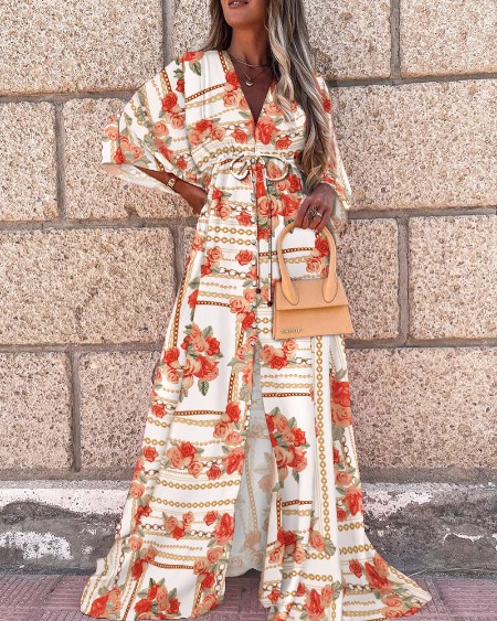 Floral Print Tied Detail Batwing Sleeve Maxi Dress