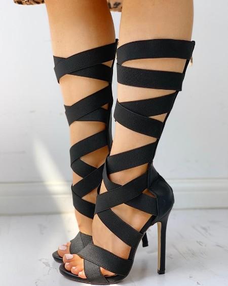 Bandage Lace-Up Zipper Back Thin Heels