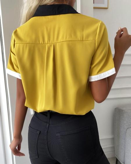 Button Front Colorblock Short Sleeve Shirt